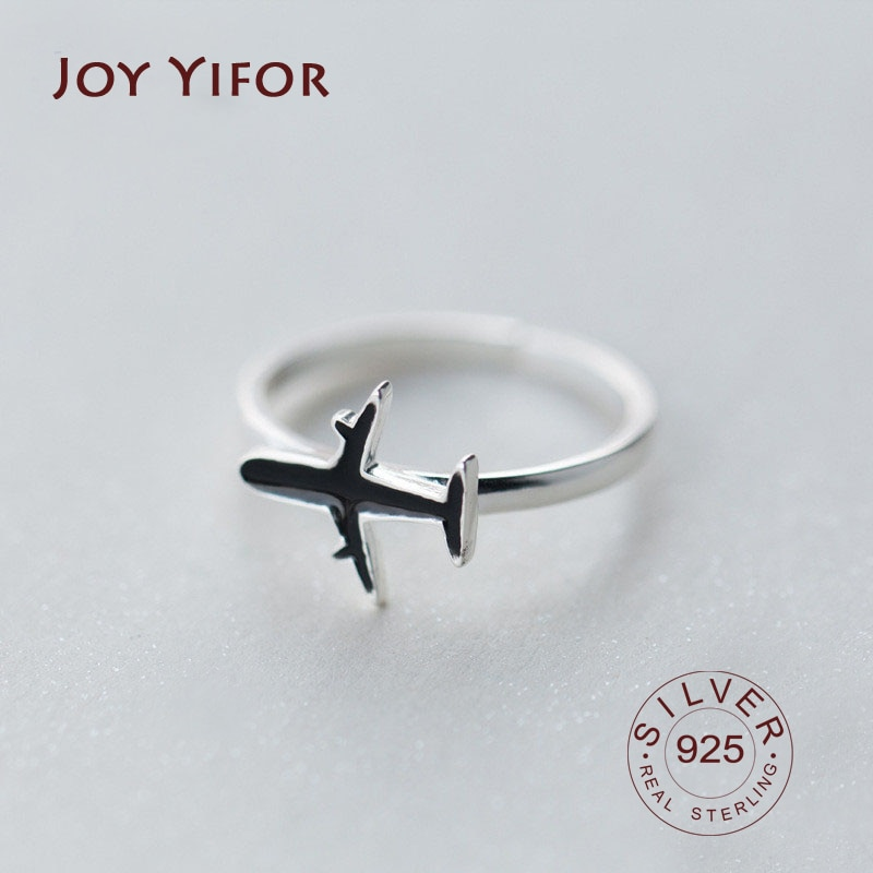 New Arrived Trendy Women Authentic 925 Sterling Silver Ring Chic Black Enamel aircraft Shape For Girls Birthday Jewelry