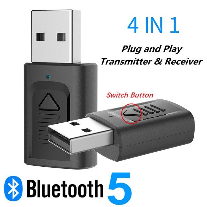 El más nuevo 4 en 1 USB transmisor Bluetooth y receptor de Audio USB 3,5 Mm Aux estéreo 5,0 Adaptador inalámbrico para equipo de TV de coche