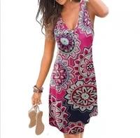 sexy v neck printing dress for women summer beach tank dress women casual loose dresses women clothing knee length vestidos