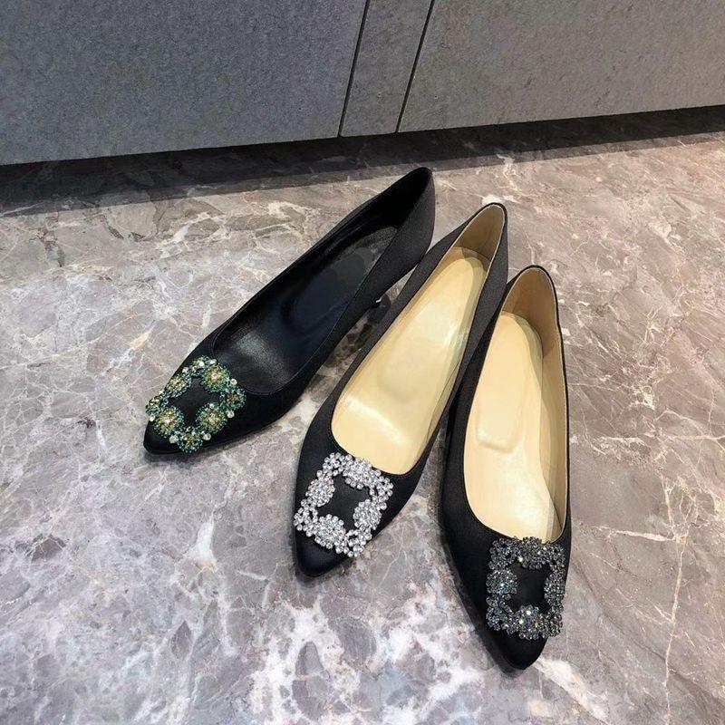 أحذية نسائية الساتان مربع مشبك الماس عالية الكعب جديد الصيف حذاء مسطح وأشار كعب رقيقة RV أحذية الزفاف المرأة