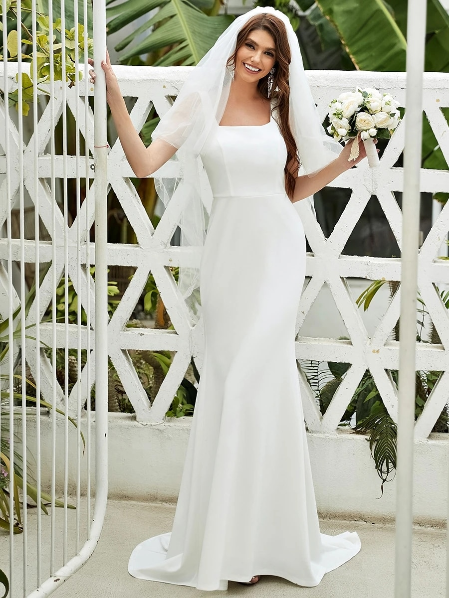 Review Mermaid Wedding Dress Soft Satin With Floor Length Square Collar Strap Half Sleeve Bride  Gowns Backless Simple Robes De Mariée