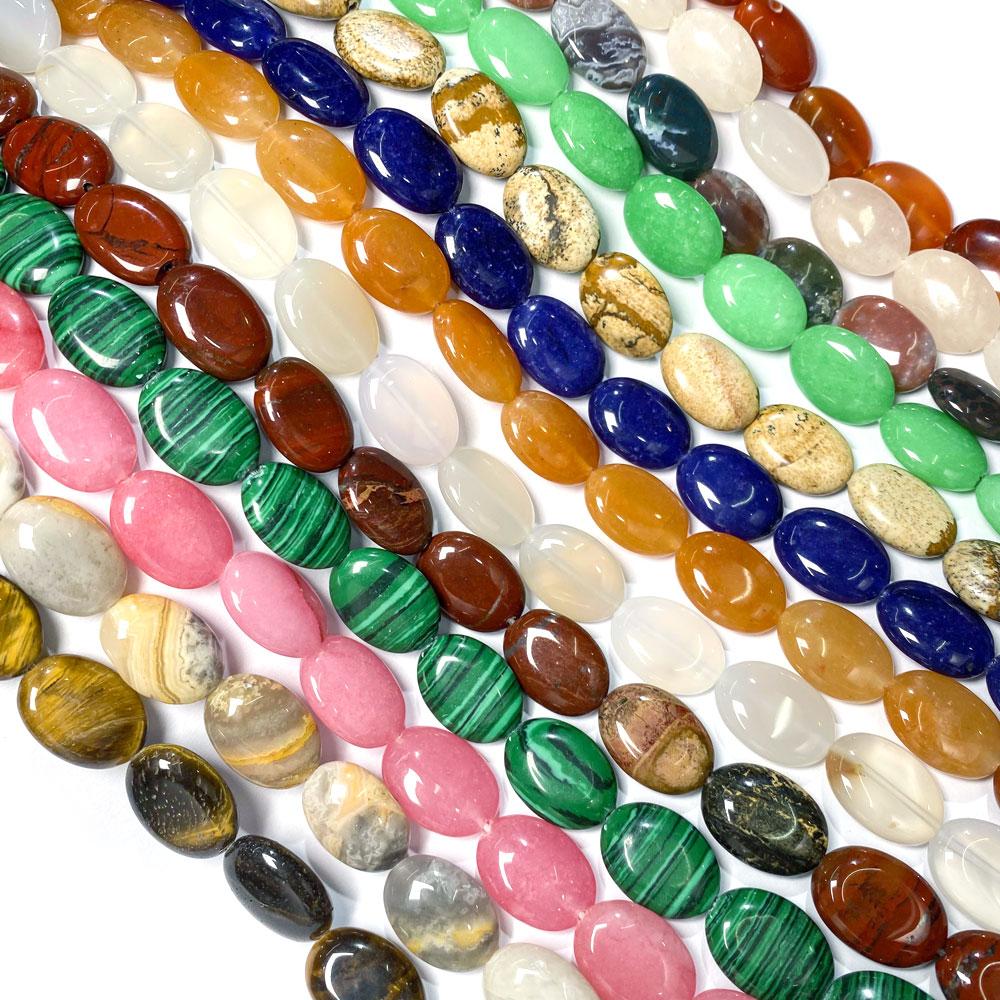 ¡Nuevo! 22 Uds. Cuentas de piedra Natural con forma de huevo, abalorios de moda y abalorios para hacer joyas DIY, collar, accesorios, tamaño 13x18mm