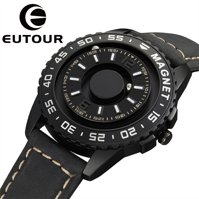 EUTOUR الأصلي العلامة التجارية الجديدة التكنولوجيا السوداء المغناطيسية لا مؤشر الرجال والنساء الراقية ساعة كوارتز حزام من الجلد