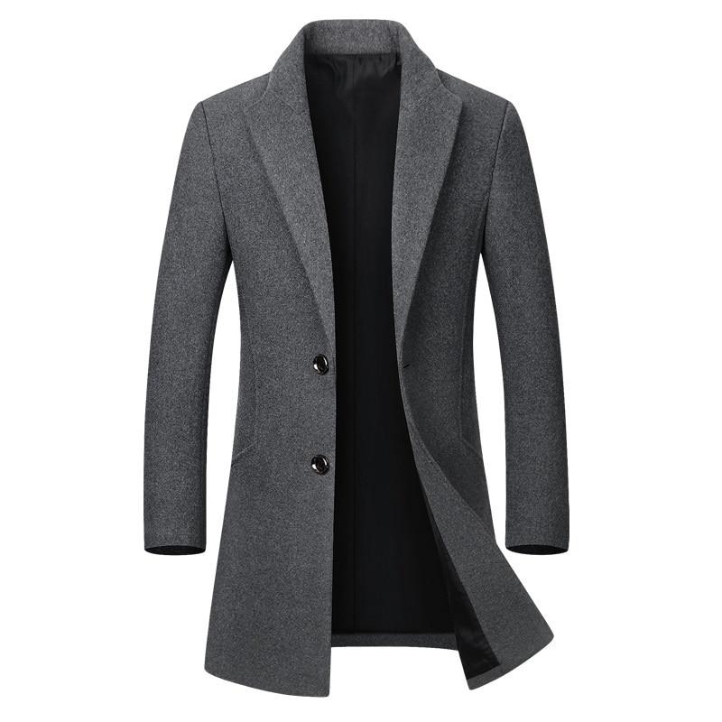 Winter Wool Jacket Men's High-quality Wool Coat casual Slim collar wool coat Men's long cotton colla