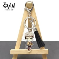 anime attack on titan acrylic pendant keychain holder cute cartoon figures tassel keyrings for bag car collection jewelry gifts