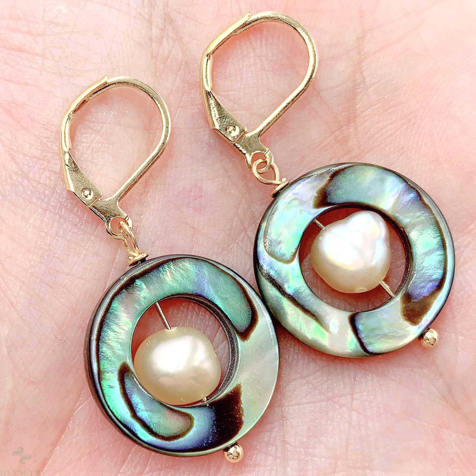 18x18mm Abalone Shell Rosa Barocke Perle Ohrringe 18k Ohr Drop Mesmerizing Luxus Züchteten Unregelmäßigen Party Klassische aurora Baumeln