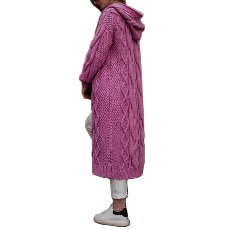 Women Hooded Open Front Cardigan Twist Chunky Cable Knit Solid Long Sweater Coat enlarge