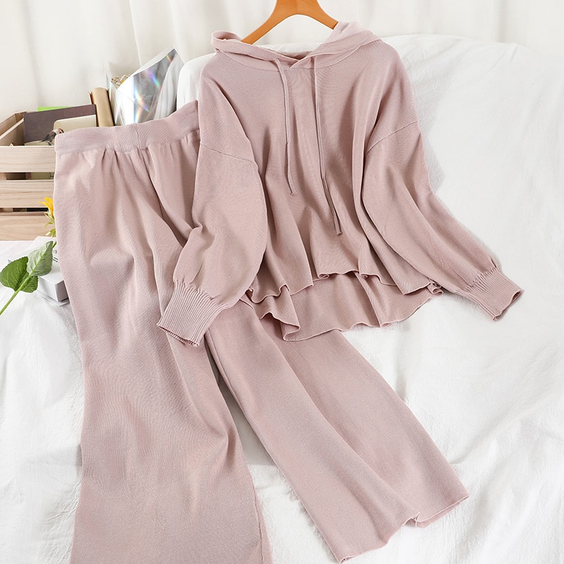 lazy-style-korean-season-new-product-hooded-irregular-sweater-two-piece-straight-wide-leg-pants