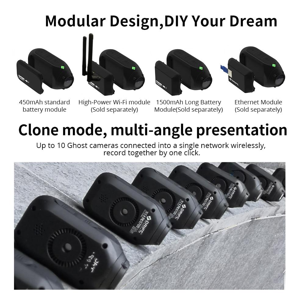 Drift Ghost 4k+ Plus Action Camera HD Motorcycle Bicycle Bike Body Worn Helmet Sport Cam with Wifi App Control 1950mAh Battery