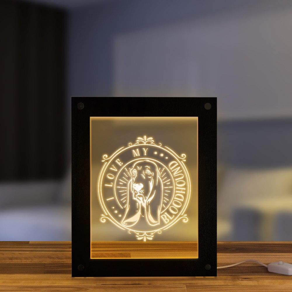 I Love My Bloodhound LED iluminación de marcos con texto personalizado imagen personalizada Saint Hubert Hound Dog Breed LED Marco de luz nocturna