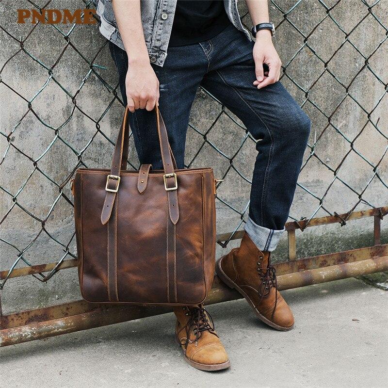 Pndme vintage grande-capacidade crazy horse couro tote masculino natural genuíno trabalho bolsa de ombro mensageiro sacos