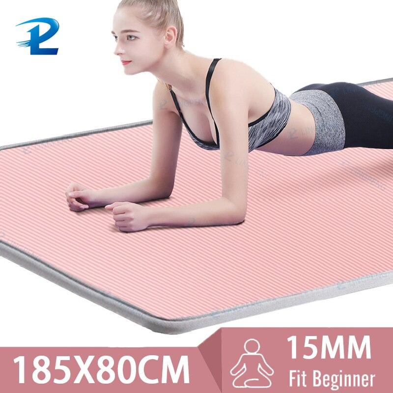 185*80cm 15mm afiação alongada e engrossada esteira de yoga dos homens especial alta qualidade fitness pilates exercício esteira de fitness saudável