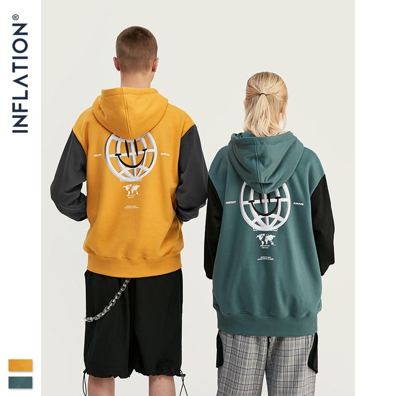 INFLATION Loose Fit Hoodie Men Winter Hoodies Colour Block With Print Logo Fleece Hoodies Cotton Male Hoodie Streetwear 9636W