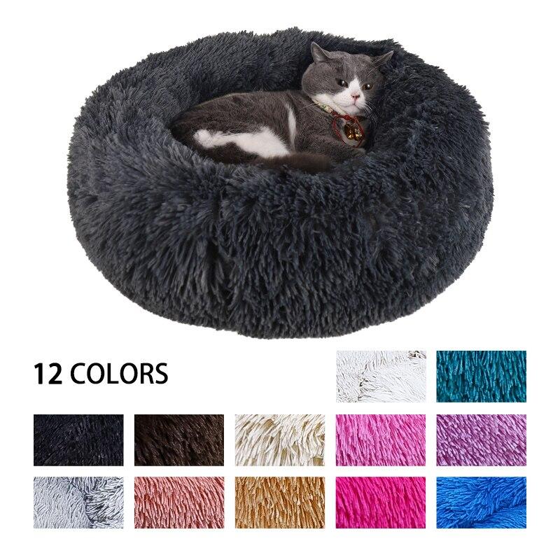 Perrera ronda Gato cama suave gato de peluche perro colchón Mat de invierno cachorro de perro cálido nido de Gato dormir casa