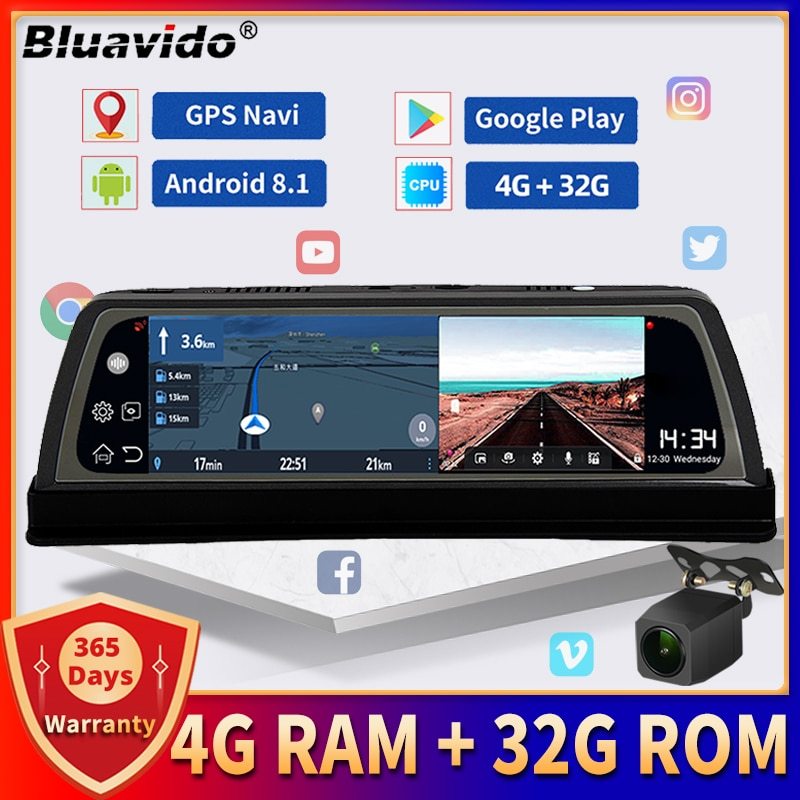 Bluavido 4G Android видеорегистратор 10 дюймов IPS Автомобильная камера на приборной панели GPS-навигация 1080P двойной объектив DVR ADAS WiFi удаленное наблюд...