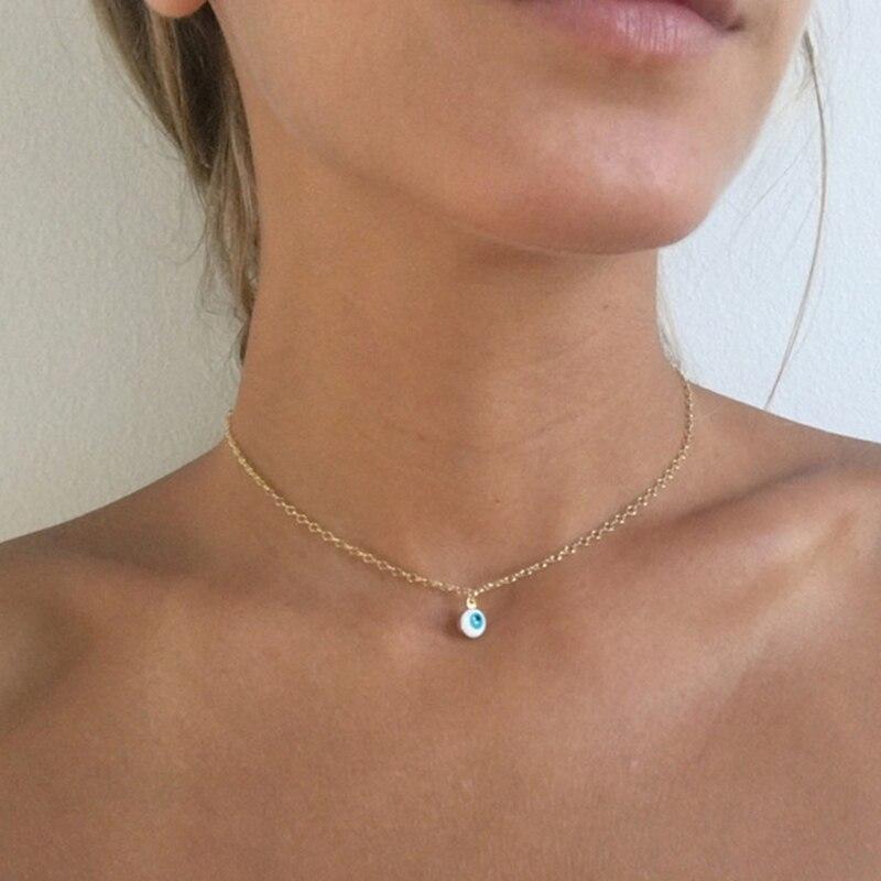 Na moda mau olho gargantilha colar delicado 4 cores colar pingente no pescoço dia das bruxas festival jóias xl255