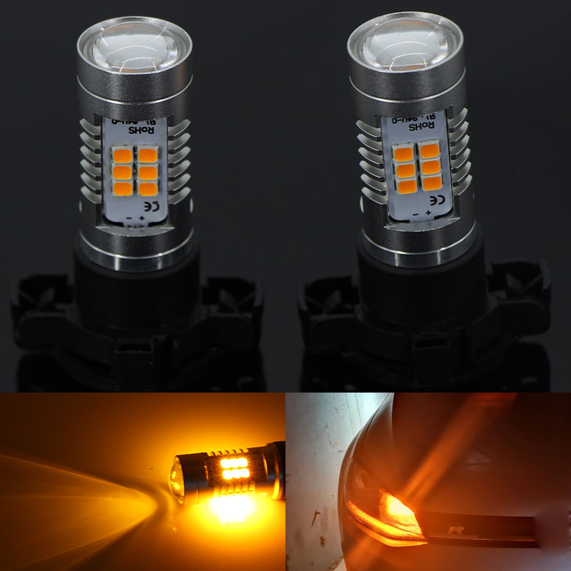 2Pcs Amber PY24W LED Bulbs For Audi A4 B8 Q5 BMW X3 E90 E92 E83 E70 F10 F11 F07 Mercedes W221 Front Turn Signal Lights