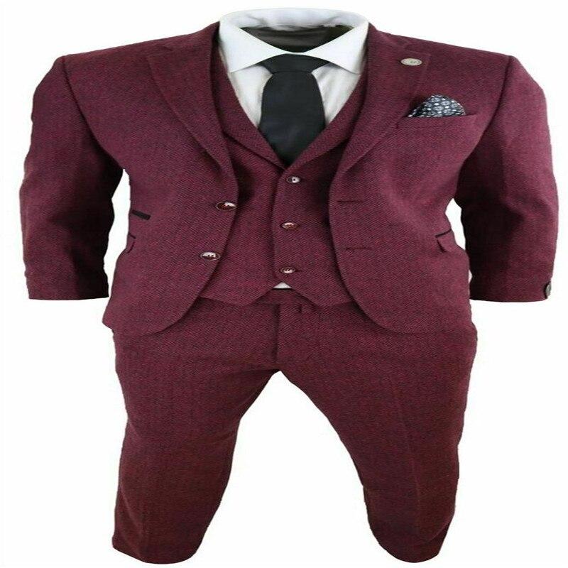 Mens Wool 3 Piece Suit Tweed Burgundy Herringbone Tailored Fit Peaky Blinders