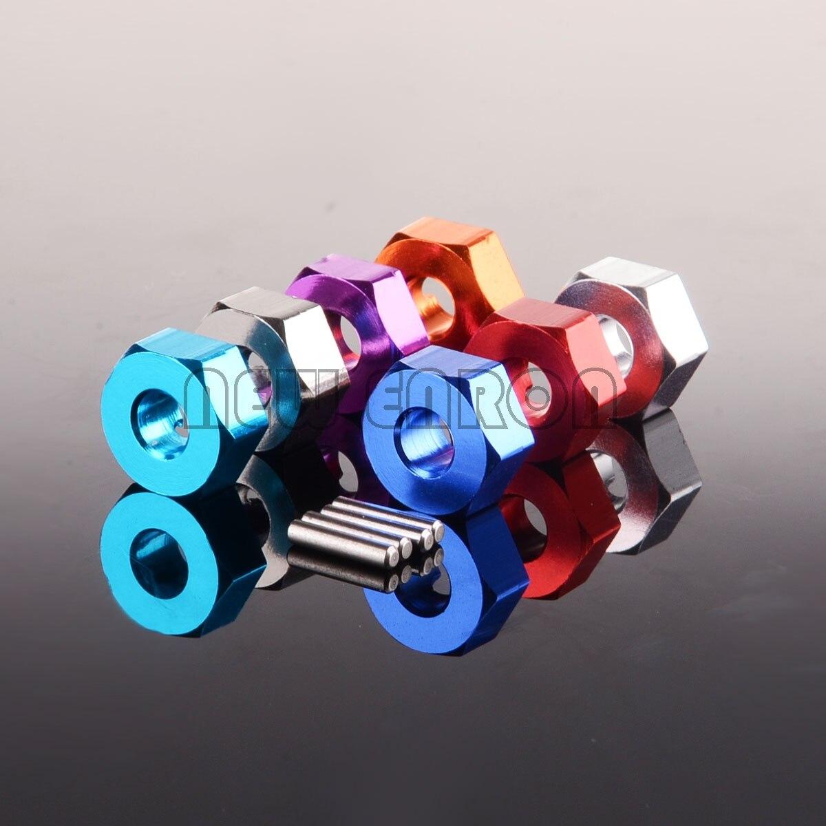 Новый алюминиевый шестигранный адаптер ENRON 12 мм и штифт, толщина 5 мм, 4 шт. для радиоуправляемой модели автомобиля, обновленные детали 1/10 Tamiya ...