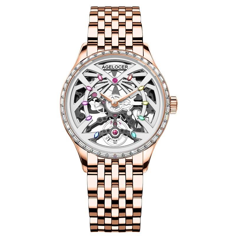 AGELOCER Women Mechanical Watches Luxury Watch Top Brand Sapphire Black Diamond Gold Watch Waterproof 36mm Ladies Watches enlarge