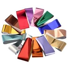 14 шт. 20*4 см наклейки из фольги для ногтей, металлические цветные Звездные Переводные золотисто-красные цветные пленочные клейкие наклейки д...