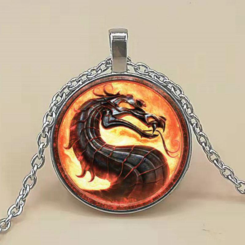 Nuevos collares de dragón de moda, colgantes de cúpula de cristal Mortal Kombat, joyería, collar, colgante