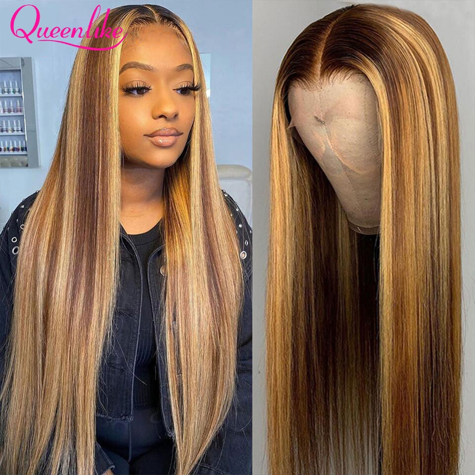 HD Highlight Straight Lace Front Wig Ombre Colored 360 Lace Front Human Hair Wigs Brazilian P4/27 Bone Straight Human Hair Wig