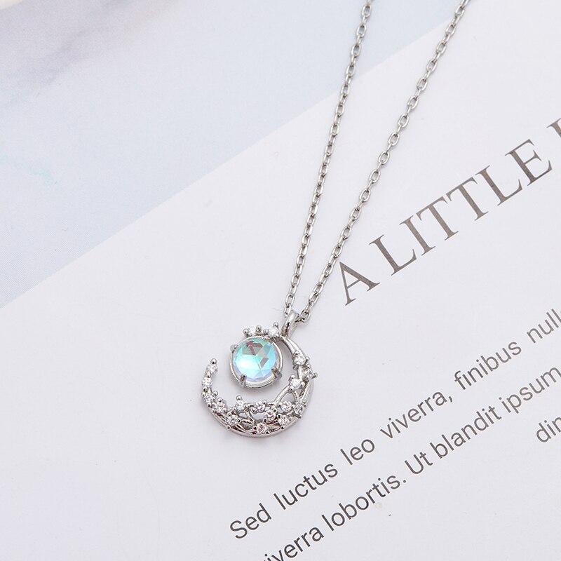 Женские Ювелирные изделия полумесяц Кулон ожерелье из серебра 925 пробы ювелирные изделия