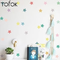 tofok 24pcs nordic ins cute colored star wall stickers for kids room cartoon bedside bedroom background wall decor wallpaper