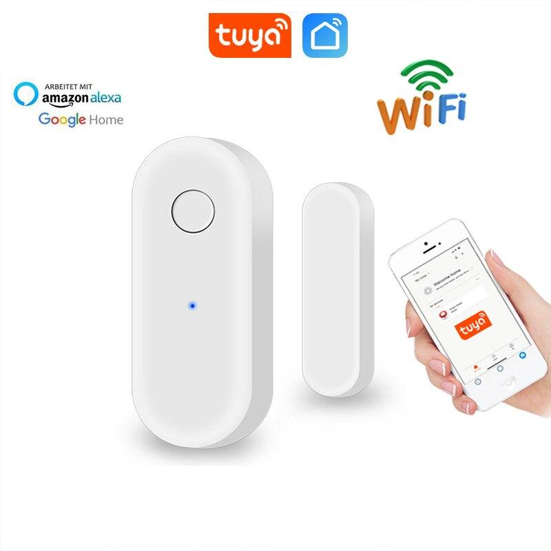Смарт-датчик двери Tuya, Wi-Fi детекторы открытия/закрытия окон и дверей, домашняя сигнализация, совместима с Alexa Google Home Smart Life смарт детекторы открытия закрытия дверей с приложением smart life и поддержкой wi fi