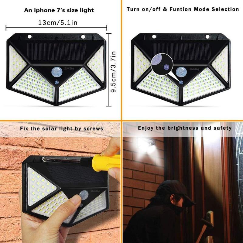 2-4pc Waterproof 100/114 LED Solar Light Garden Street Lights Outdoor Solar Lamps PIR Motion Sensor Wall Light Sunlight Powered