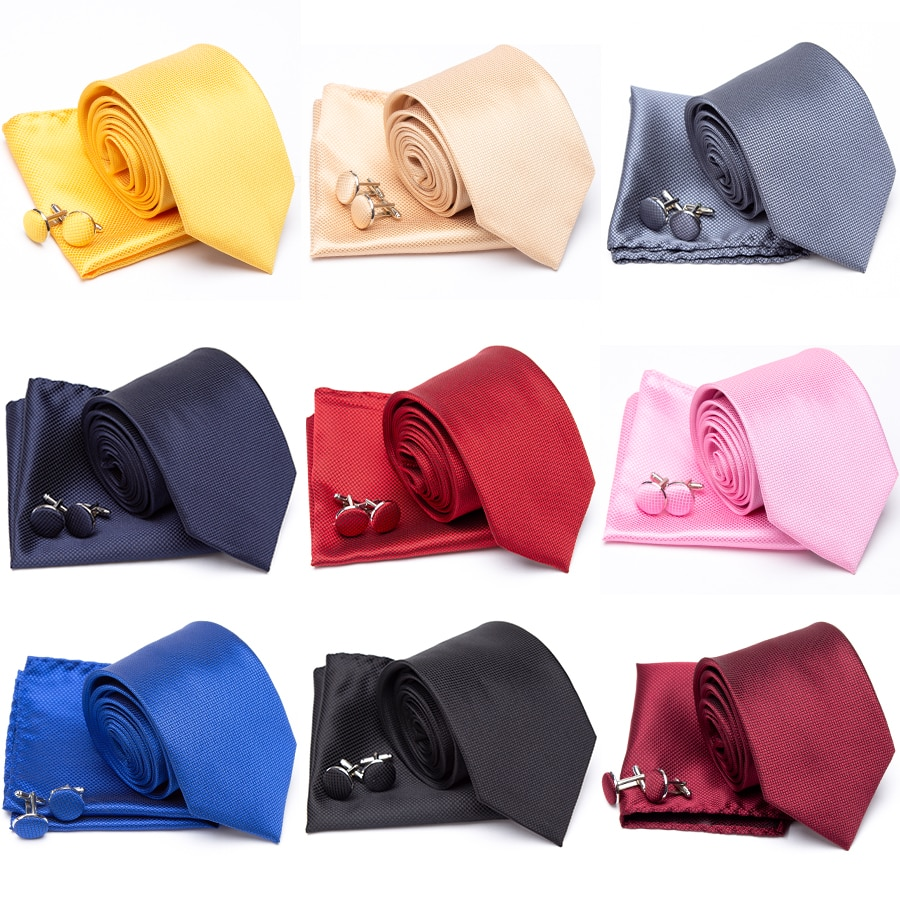 Mens Tie Cravat Cufflinks Set Fashion Ties for Men Handkerchief Party Man Gifts for Men Wedding Necktie Accessories Wholesale недорого