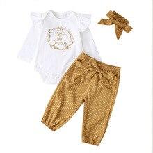 3 sztuk niemowlę stroje pałąkiem na głowę + biały Romper + musztarda spodnie zestawy dla dzieci moda dla dzieci zestawy ubrań dla niemowląt