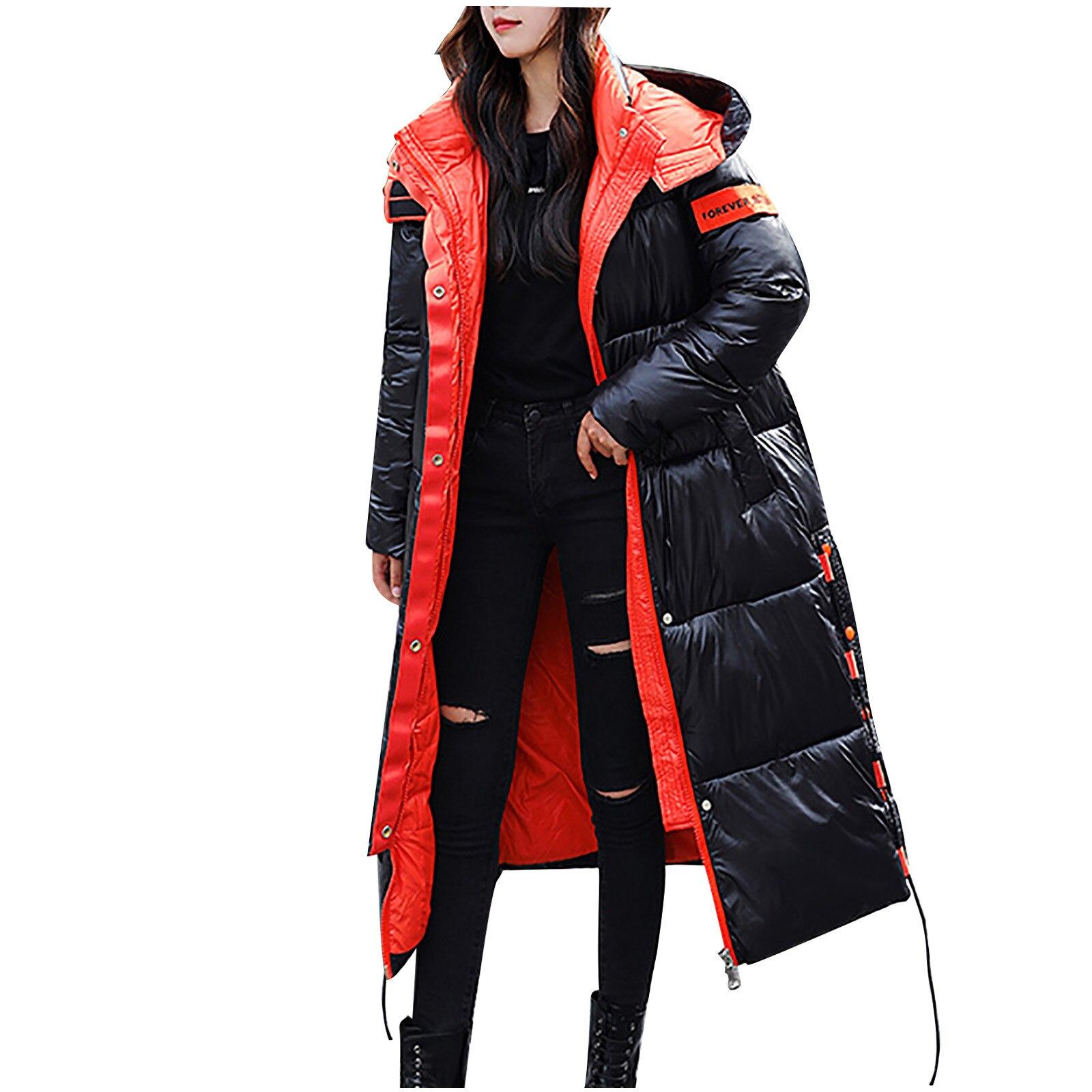 Модные зимние женские длинные глянцевые пуховики выше колена, пальто с капюшоном, парки, толстая зимняя куртка, женская верхняя одежда # T2G