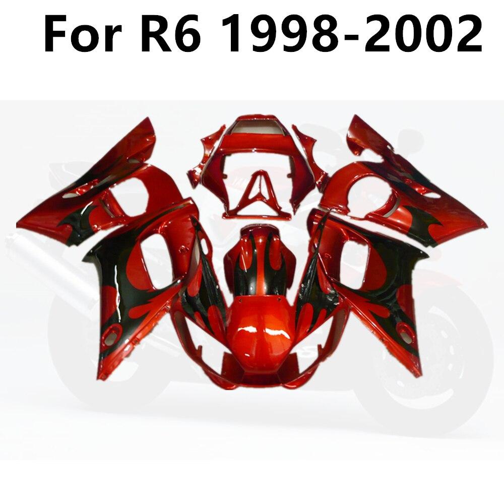 مجموعة انسيابية كاملة للدراجات النارية ، مجموعة جسم مصبوب بالحقن ، YAMAHA R6 1998 1999 2000 2001 2002 98 99 01 02 ، لهب أحمر برتقالي
