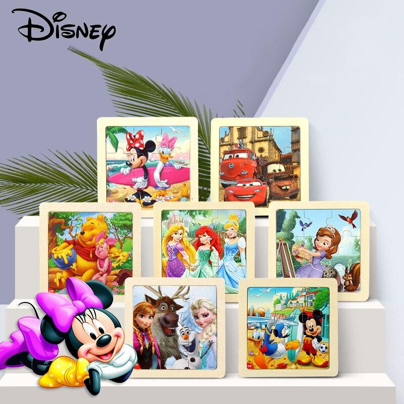 Disney crianças brinquedos educativos de madeira 3d quebra-cabeças mickey minnie tangram bebê aprendizagem educacional brinquedos 9 peças