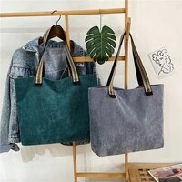 women corduroy tote woven cotton straps canvas bag striped cloth handbag casual shoulder bags ladies zipper purse eco books bag