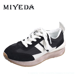 MIYEDA Fashion Dirty Sneaker Convinient Lace-up Genuine Leather Black Gingham Sport Shoes Felamle Comfortable Runnning Shoes