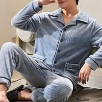 wenyujh mens soft flannel pajamas set autumn winter male warm pyjamas long sleeve sleepwear men loungewear pijama homewear