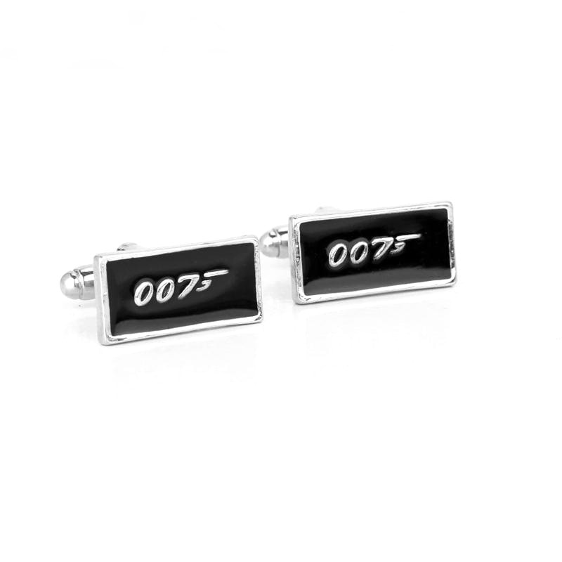 Film 007 boutons de manchette de couleur noire, Agent spécial James Bond 007, bouton de manchette avec Logo numérique, chemise pour hommes