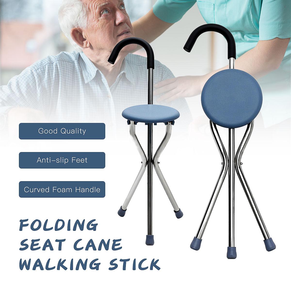 Walking Stick Chair Aluminum Walkers For Elderly Folding Elderly Walker Cane With Seat Walking Stick Old People 2 in 1 Walk/Sit