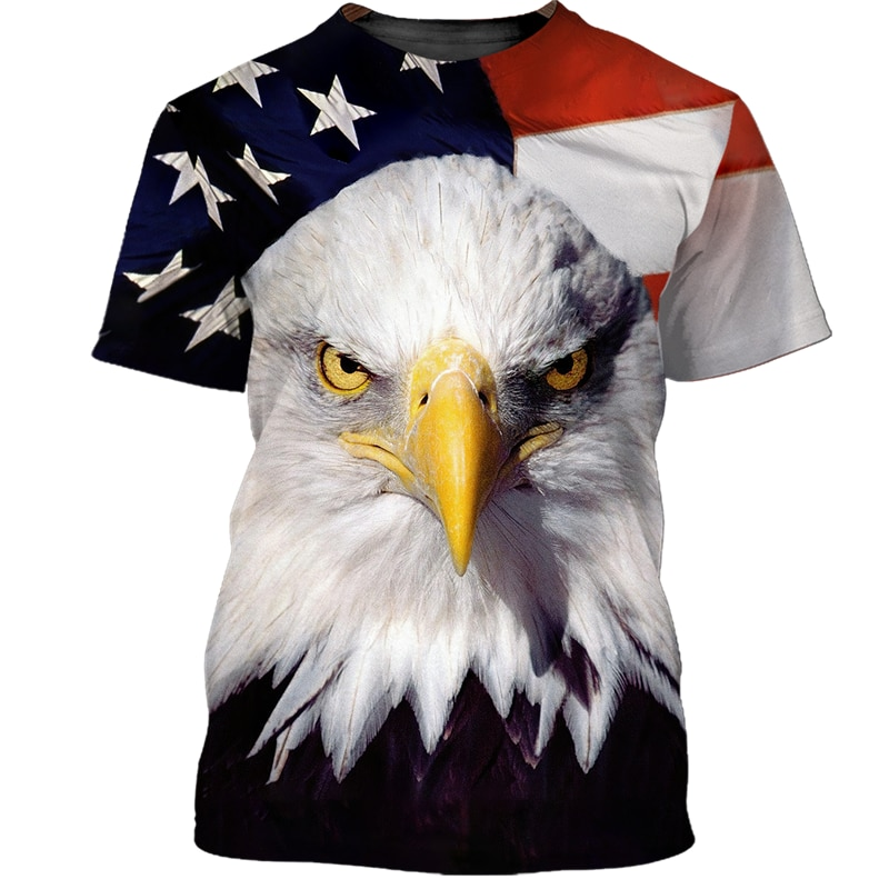 Hot Sale Men Clothing USA Size Oversized Tshirts Anime Printing Tees Short Sleeve Print Eagle Street