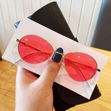 New sunglasses retro round sunglasses moisture anti ultraviolet water drop Sunglasses curved leg sun
