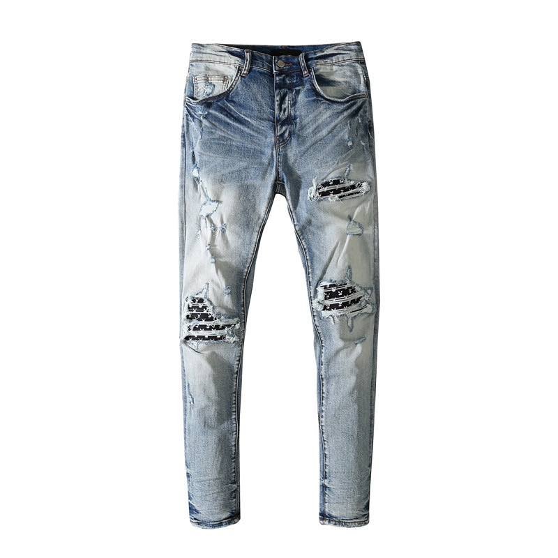 American Famous Brand AMR 2021ss Jeans for Men Patch Washed Ripped Jeans Men's Jeans Trousers Streetwear Traf Men Trousers
