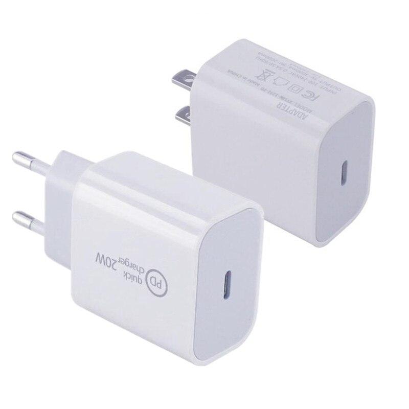 500 قطعة PD 20W USB-C الطاقة محول شاحن الولايات المتحدة الاتحاد الأوروبي التوصيل الذكية الهاتف سريع شاحن لباد برو الهواء ل فون 12 البسيطة 11 برو ماكس ...