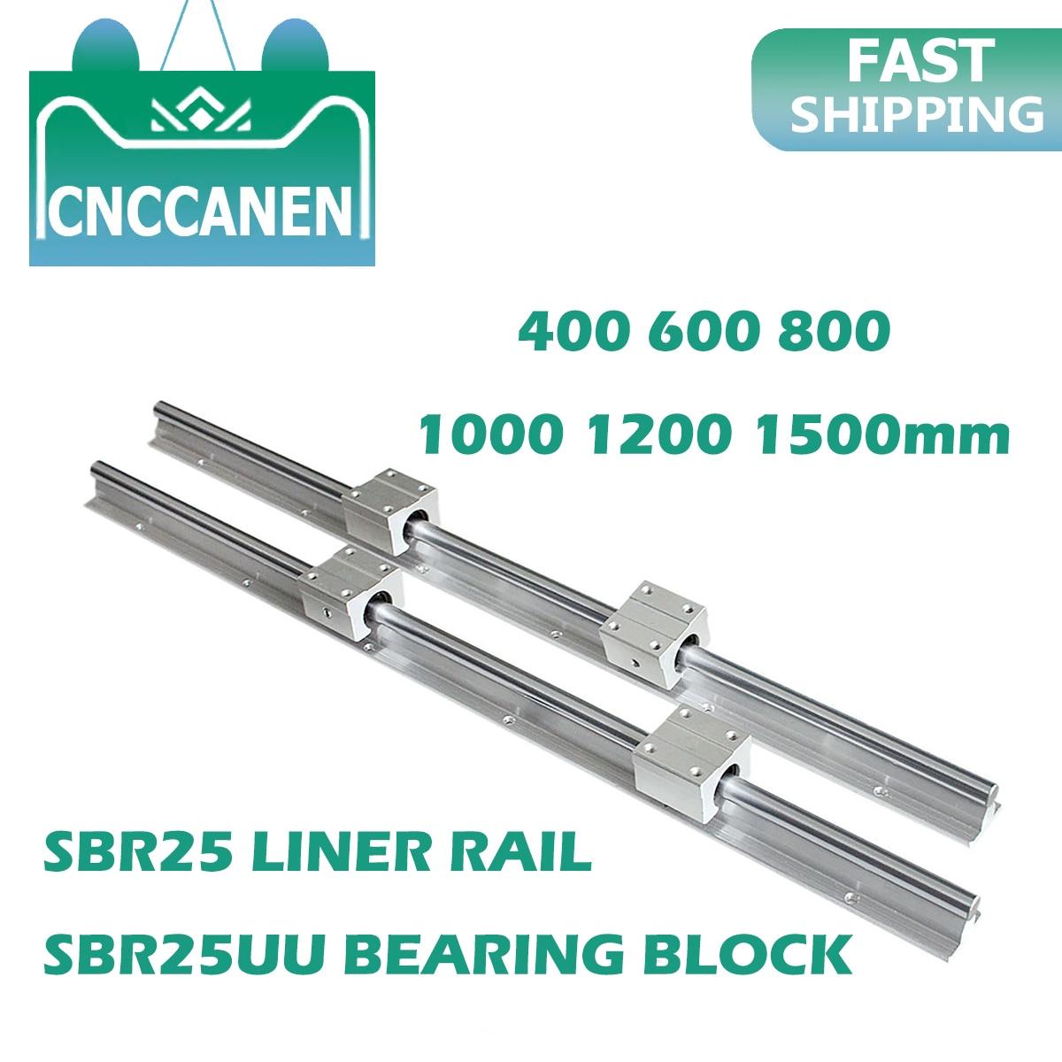 2 قطعة SBR25 الخطي دليل السكك الحديدية 400 500 600 800 1000 1200 1500 مللي متر + 4 قطعة SBR25UU الخطي تحمل كتلة خطي السكك الحديدية مجموعة