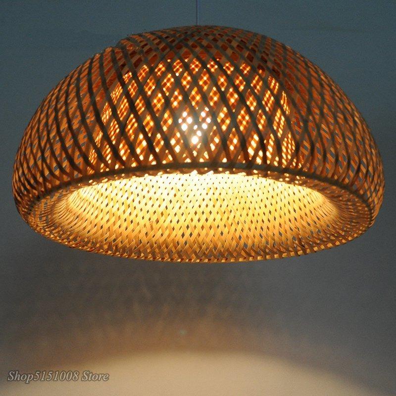 الحديثة قلادة أضواء الطبيعة الخيزران العمل اليد محبوك الصينية قلادة Led مصباح الطعام غرفة الممر غرفة نوم شنقا مصباح تركيبات
