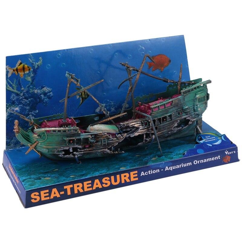 حوض السمك الكبير الديكور قارب حوض السمك البلاستيك سفينة الهواء سبليت حطام السفينة حوض للأسماك ديكور C