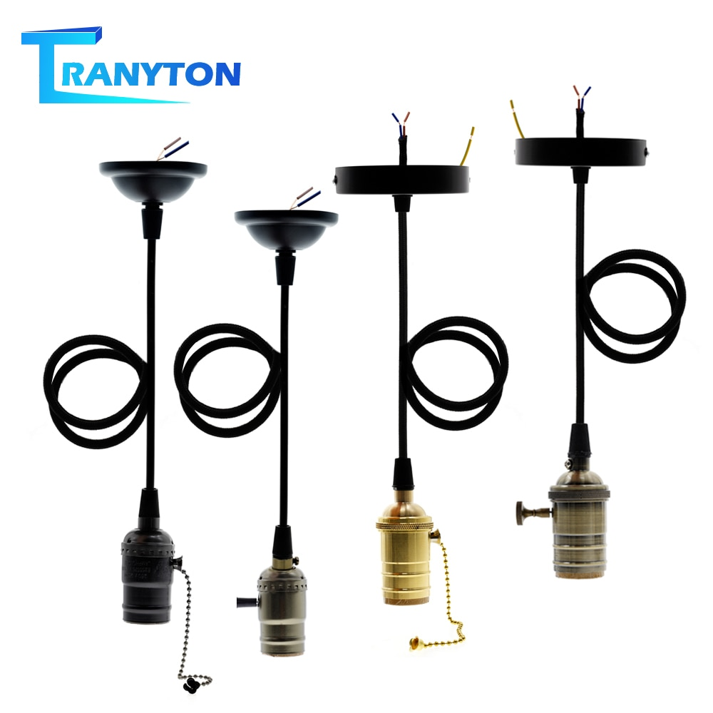 Lámpara E27 Vintage Edison de alta calidad soporte de Base de cobre Metal Retro luces colgantes Base de bombilla de tornillo 4 colores con interruptor
