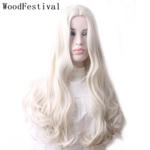 WoodFestival-Peluca de pelo sintético ondulado para mujer, cabellera larga de color blanco, rosa, rojo, marrón oscuro, verde, Azul, Gris, degradado, Cosplay